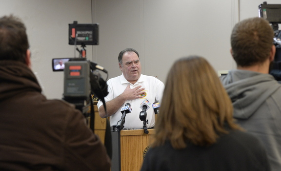 Biddeford Police Chief Roger Beaupre speaks with the media at the Biddeford Police Department on Friday.