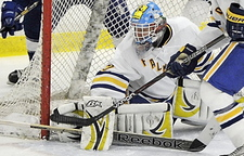 Dane Pauls is half of a stellar goaltending tandem for Falmouth, which finally won its first state championship last season after many years of near misses.