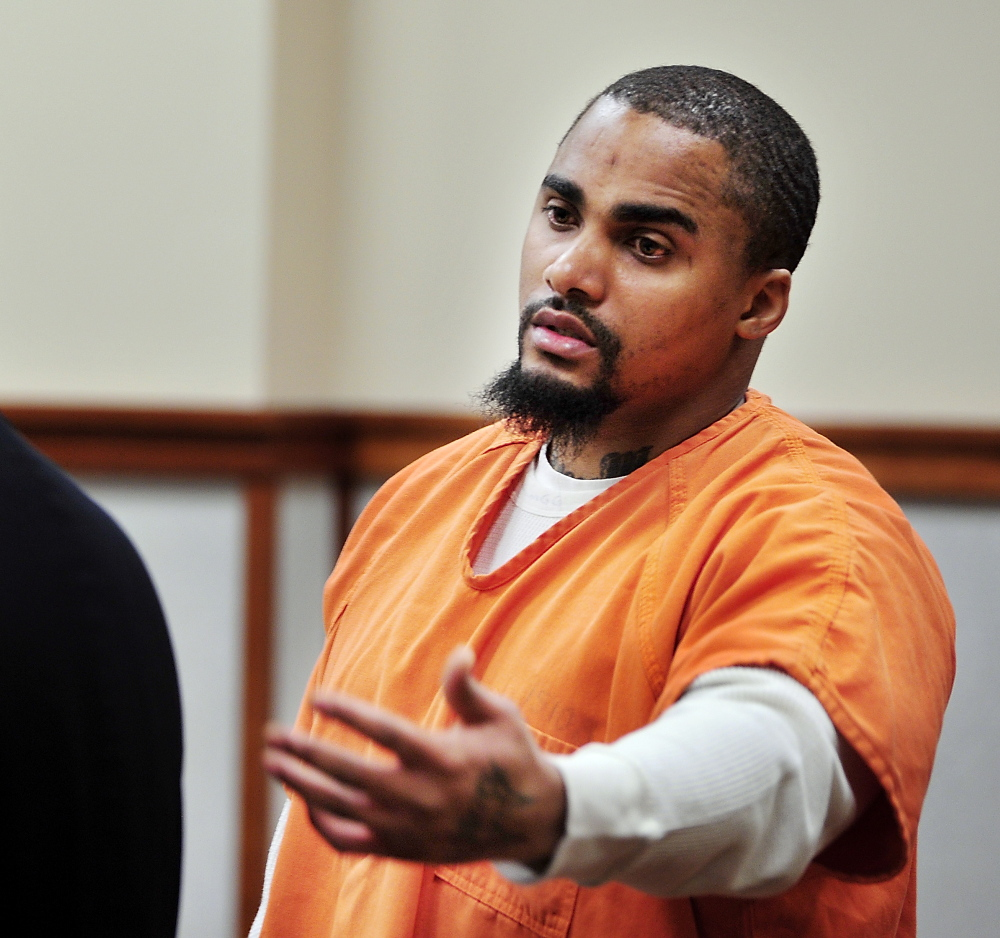 Cory Reid apologizes, during his sentencing at Cumberland County Court on Tuesday, for a June 2012 shooting incident in Falmouth.