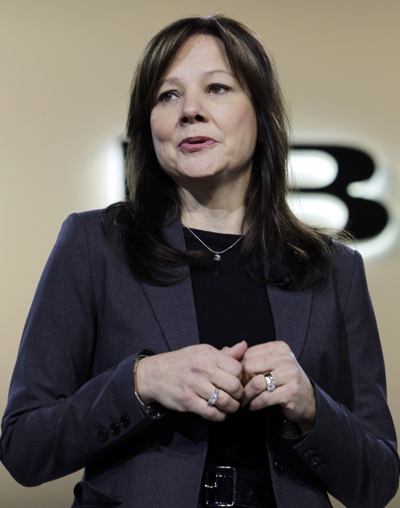 Mary Barra speaks at the debut of the 2013 Buick Encore at the North American International Auto Show in Detroit in this Jan. 10, 2012, photo.
