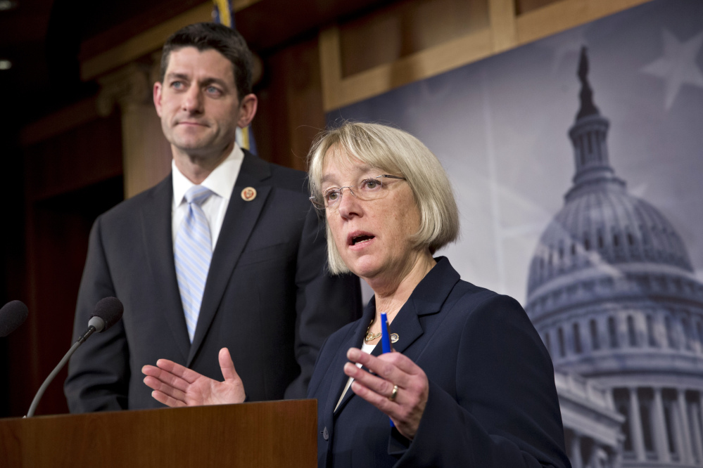 House Budget Committee Chairman Paul Ryan, R-Wis., left, and Senate Budget Committee Chairwoman Patty Murray, D-Wash., announce a tentative agreement between Republican and Democratic negotiators on a government spending plan, at the Capitol in Washington on Tuesday.