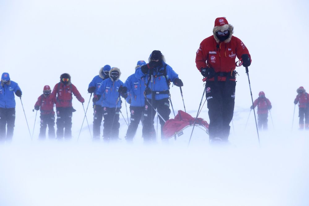 Britain's Prince Harry, right, during training near Novo, Antarctica, ahead of the Walking with the Wounded South Pole Challenge. AP Photo