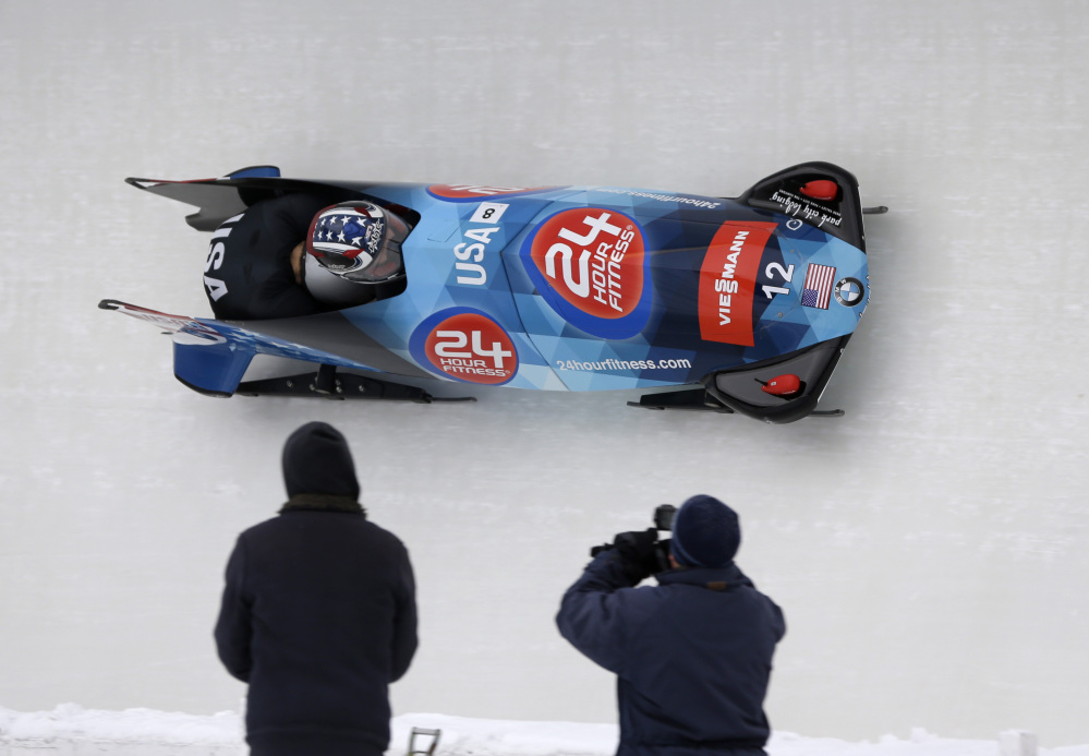 United States' pilot Nick Cunningham and brakeman Johnny Quinn compete in the two-man bobsled World Cup event Saturday in Lake Placid, N.Y. The pair finished second.