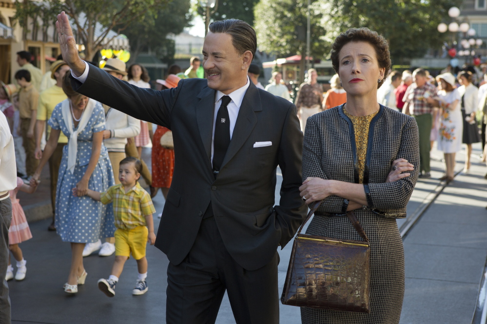 "Tom Hanks as Walt Disney and Emma Thompson as author P.L. Travers in ""Saving Mr. Banks."""