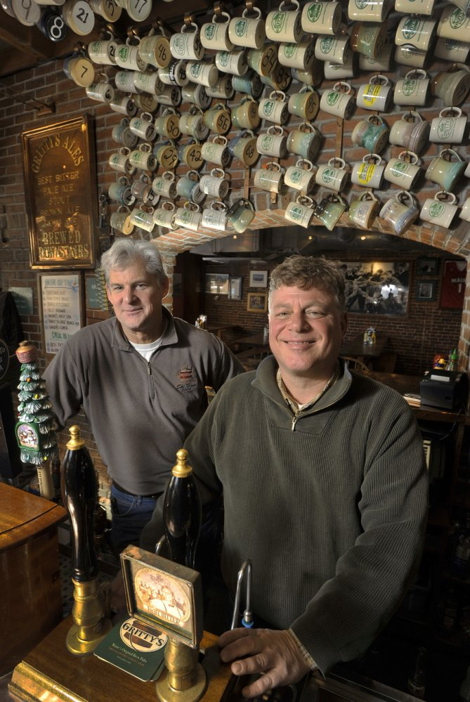 Richard Pfeffer, left, and Ed Stebbins co-founded Gritty McDuff's Brewing Co. on Fore Street in Portland.