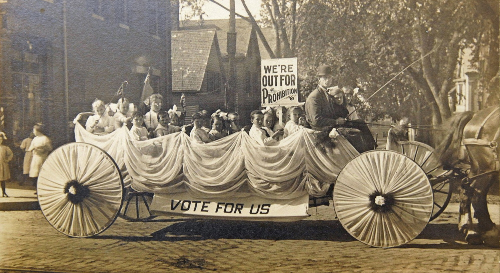 This 1911 photo shows a pro-Prohibition parade float. Portland was once in the vanguard of enacting the country's first laws outlawing liquor.