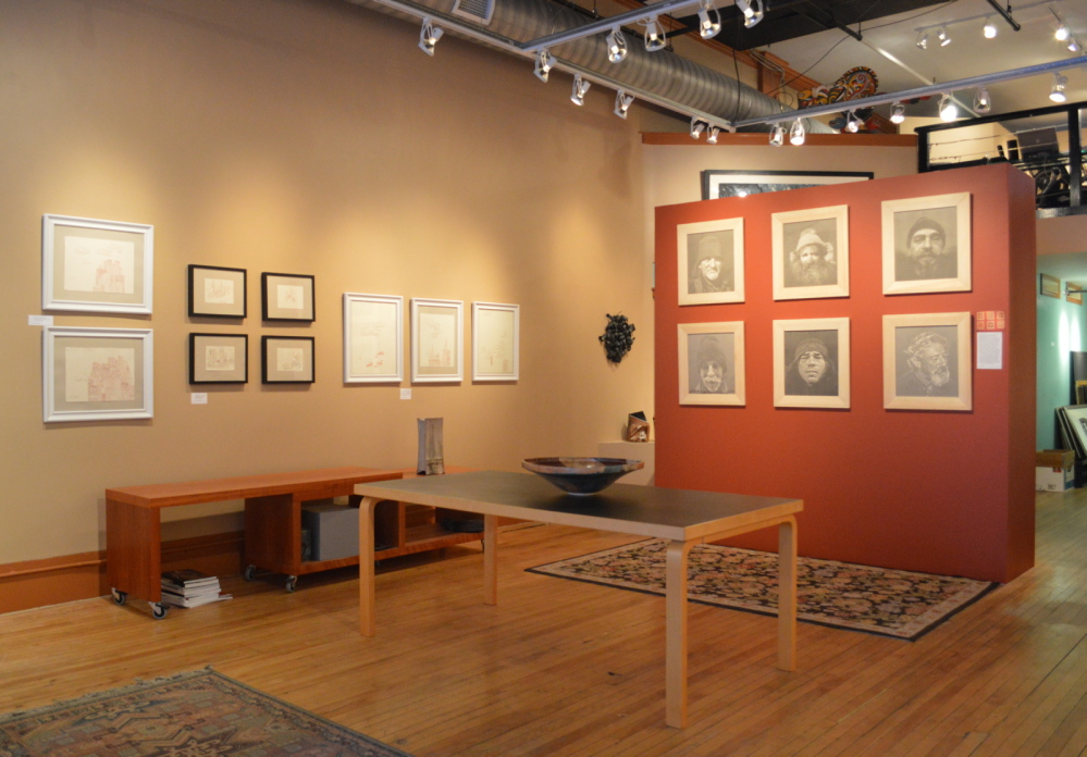 Works by Kimbery Convery and Wyatt Barr hang at A Fine Thing: Edward T. Pollack Fine Arts.