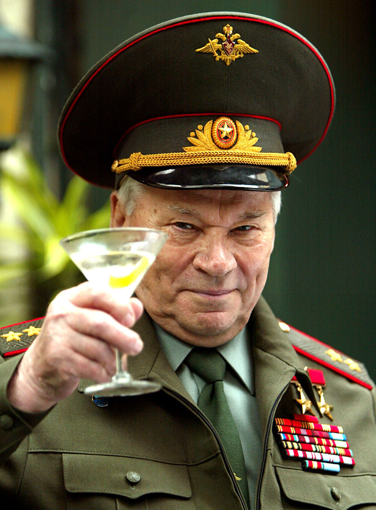 Russia's Lt. Gen. Mikhail Kalashnikov, famous for his AK-47 gun design, is shown in a 2004 photo. His work as a weapons designer for the Soviet Union is immortalized in the name of the world's most popular firearm.