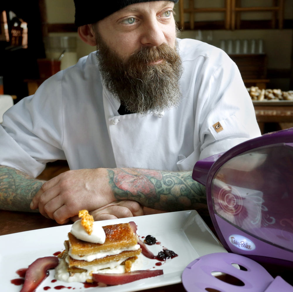 Brant Dadaleares, a pastry chef at Fore Street, created a maple creme brulee napoleon at the restaurant using an Easy-Bake Oven to make a portion of it.