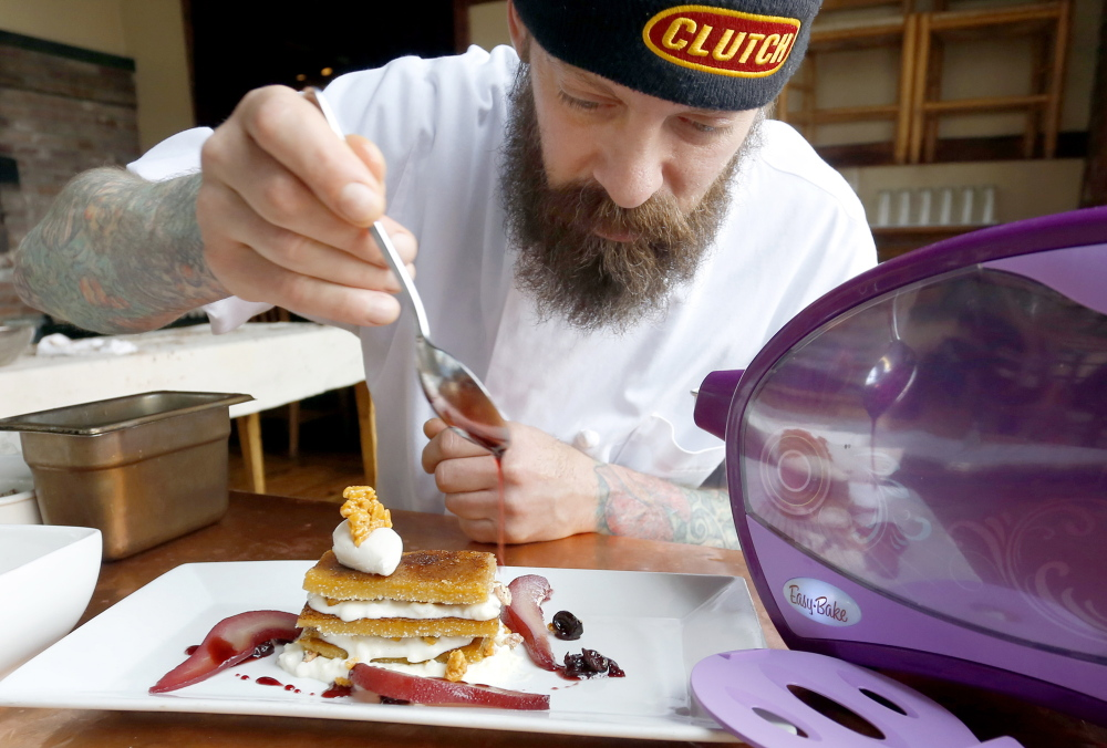 Brant Dadaleares, a pastry chef at Fore Street, makes his maple creme brulee napoleon.