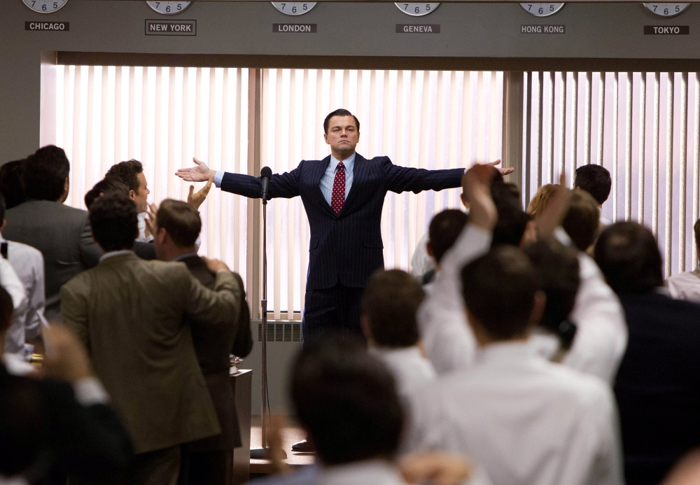 """Leonardo DiCaprio plays Jordan Belfort in """"The Wolf of Wall Street,"""" Martin Scorsese's satiric indictment of high-rolling gamblers in the world of finance."""