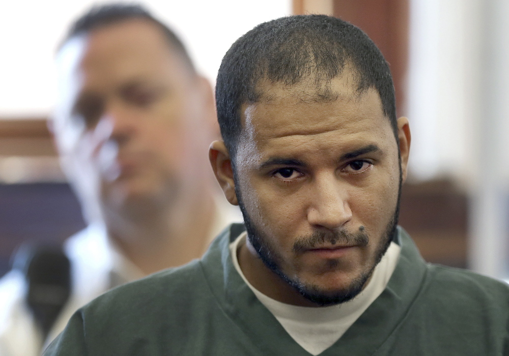 Edwin Alemany, 28, appears in court on Aug. 14. Besides facing charges in the attack on Kayleigh Ballantyne, he is a suspect in the fatal stabbing of Amy Lord of Wilbraham, Mass., and other assaults.