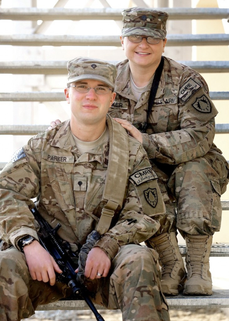 Spc. Holly Parker and her son, Spc. Andrew Parker, both members of the Maine 133rd Engineer Battalion, pose for a portrait together at Bagram Air Field in Afghanistan on Friday.