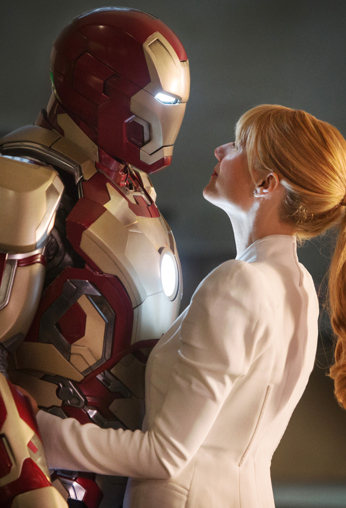"Robert Downey Jr. is Tony Stark/Iron Man and Gwyneth Paltrow is Pepper Potts in a scene from ""Iron Man 3."" The mega-hit consistently filled theaters last summer."