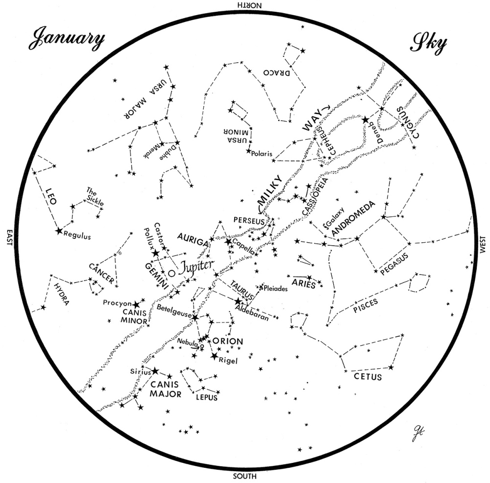SKY GUIDE: This chart represents the sky as it appears over Maine during January. The stars are shown as they appear at 9:30 p.m. early in the month, at 8:30 p.m. at midmonth and at 7:30 p.m. at month's end. Jupiter is shown in its midmonth position. To use the map, hold it vertically and turn it so that the direction you are facing is at the bottom.