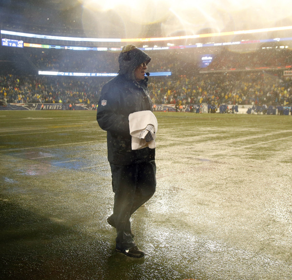 Patriots Coach Bill Belichick had to work on the sidelines of a drenched field Sunday but, hey, Gillette Stadium has two weeks to recover before the playoffs begin for New England.