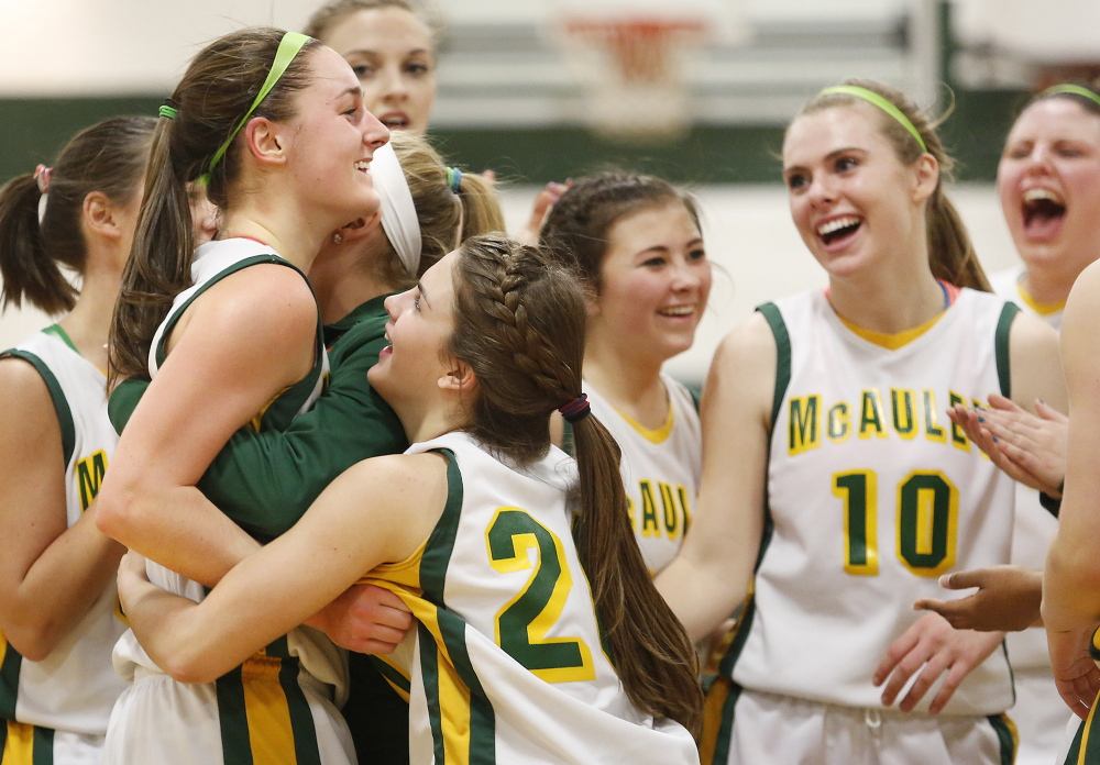 Allie Clement hadn't really wanted to talk about it because it was a personal, not a team goal. But Monday night she reached her goal, the landmark 1,000 career points, and her McAuley teammates led the celebration during the first quarter of a 74-29 victory against Windham.