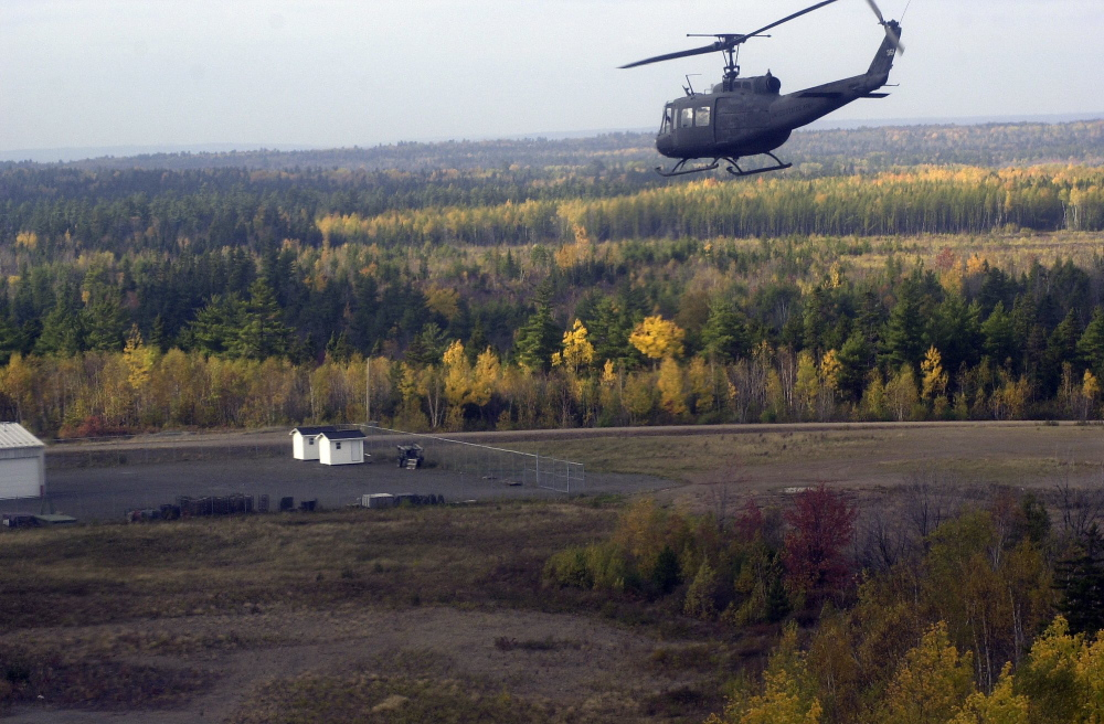 A Maine Army National Guard helicopter approaches Canadian Forces Base Gagetown in New Brunswick. According to military documents obtained by Canadian veterans, 3 million pounds of herbicides and defoliants were used at Gagetown over a 30-year period.