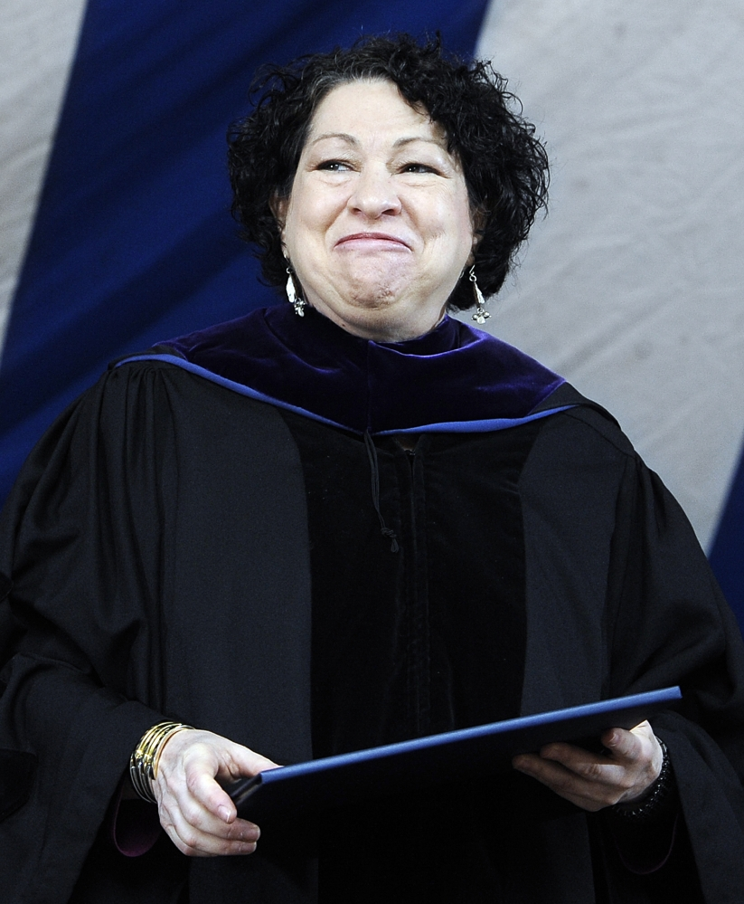 In this May 20, 2013, file photo, Supreme Court Justice Sonia Sotomayor smiles after receiving a Honorary Doctor of Laws during commencement at Yale University in New Haven, Conn. Sotomayor will lead the 60-second countdown and push the ceremonial button to signal the descent of the Times Square New Year's Eve ball.