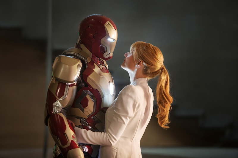 This film publicity image released by Disney-Marvel Studios shows Robert Downey Jr. as Tony Stark/Iron Man and Gwyneth Paltrow as Pepper Potts with in a scene from