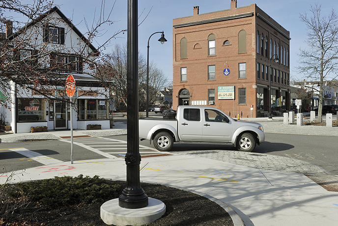 Photo of Legion Square in South Portland for flashback column. A traffic circle now sits in the middle of the square. November 30, 2013. John Ewing/staff Photographer.