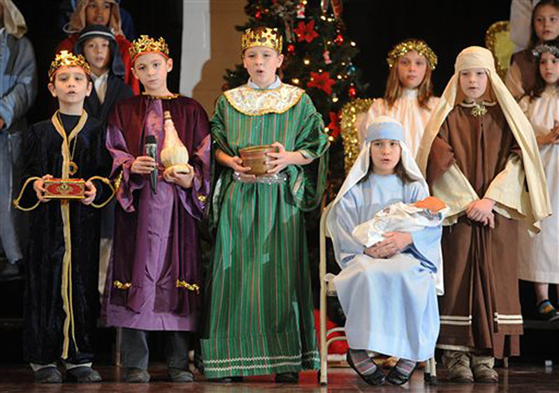 Fourth-graders perform a nativity play at St. Benedict's Catholic Grade School in Johnstown, Pa.