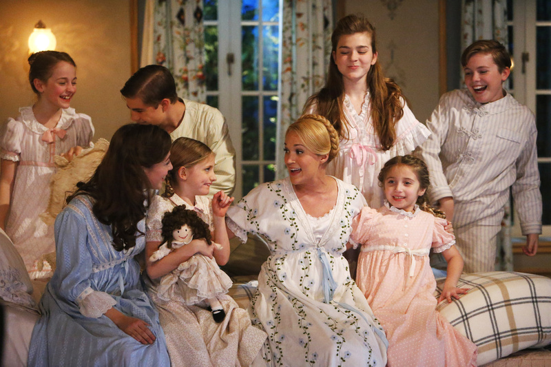 """From left, Sophia Ann Caruso as Brigitta, Ariane Rinehart as Liesl, Michael Nigro as Friedrich, Grace Rundhaug as Marta, Carrie Underwood as Maria, Ella Watts-Gorman as Louisa, Peyton Ella as Gretl, and Joe West as Kurt, appear in """"The Sound of Music Live!"""" The live-TV version of the stage play aired Thursday on NBC. NUP_159380,Select"""