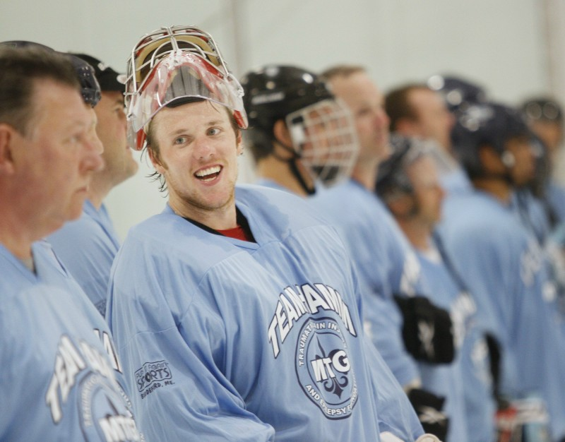 Jimmy Howard, a former University of Maine goalie now playing for the Detroit Red Wings, is shown in this 2011 file photo at a celebrity hockey game to benefit the Michael T. Goulet Foundation.