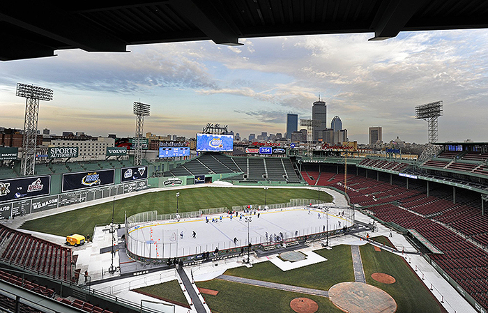 The scene at Fenway Park on Jan. 6, 2012, the day before the University of Maine and the University of New Hampshire met as part of Frozen Fenway.