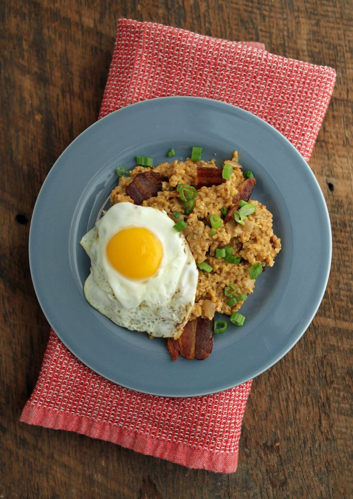 Oatmeal offers flavor and texture when topped with a soft-cooked egg.