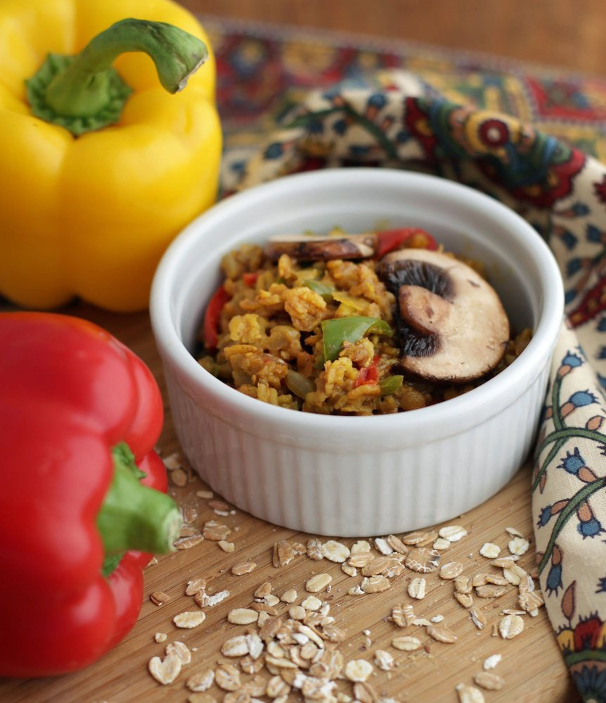 Three-Pepper Oat Pilaf