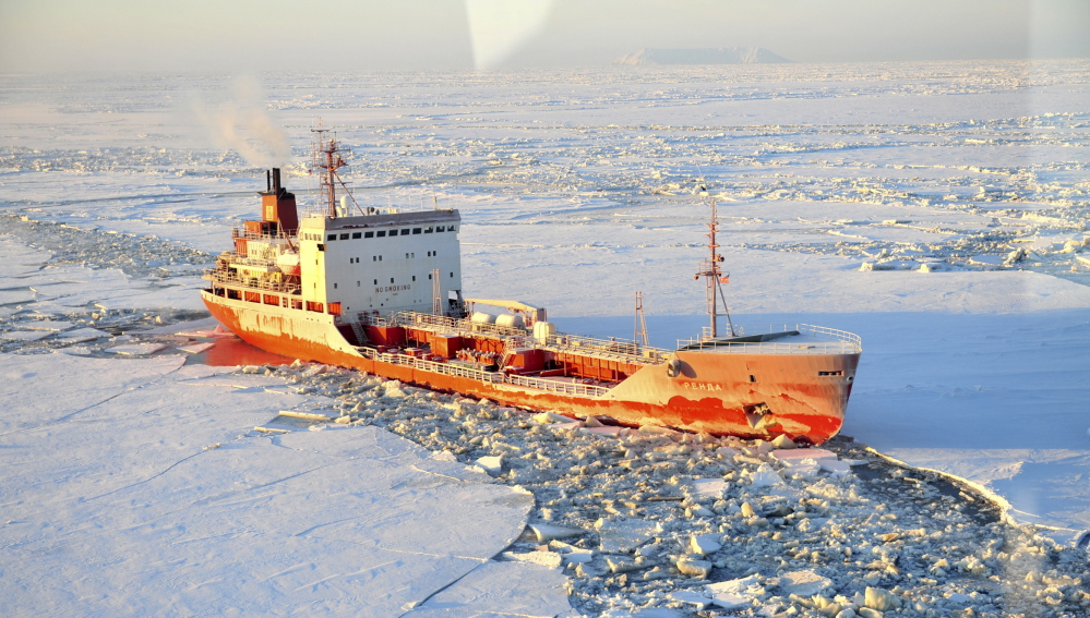 The Russian-flagged tanker Renda navigates through ice-choked seas off Alaska last January. Lawmakers and policy analysts say the United States is falling behind other countries in economic and other activity in the Arctic region.