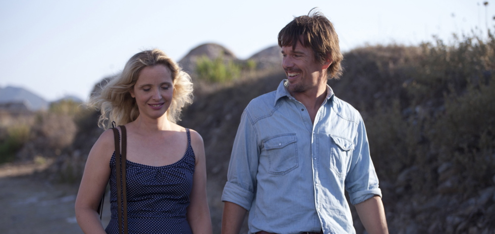 """Happier times before the tough talk: Julie Delpy and Ethan Hawke in """"Before Midnight."""""""