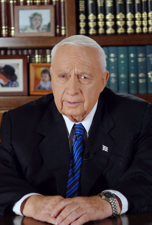 Israeli Prime Minister Ariel Sharon gives a televised address to the nation from Jerusalem in 2005.