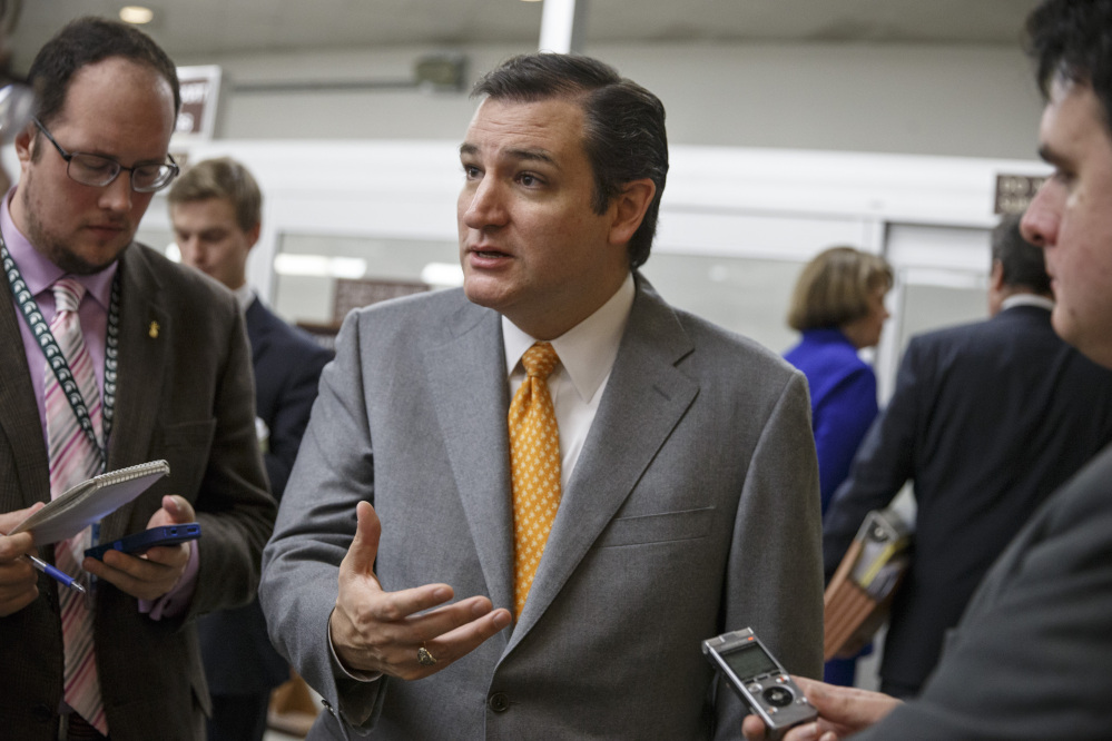 Republican Sen. Ted Cruz of Texas speaks with reporters on Capitol Hill in Washington last month.
