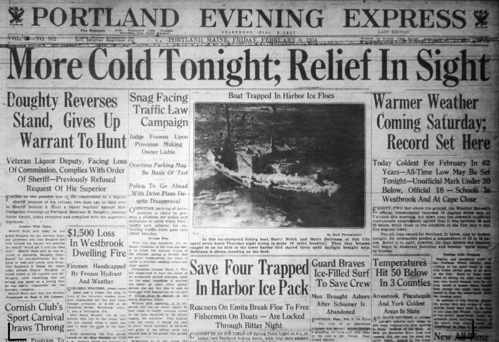 Top: The Portland Evening Express front page from Feb. 9, 1934, shows the Casco Bay Lines boat Emita stuck in the ice. At left: Passengers walk 200 yards to Peaks Island when the Emita is icebound again, as shown in the Portland Press Herald on Feb. 26, 1934.