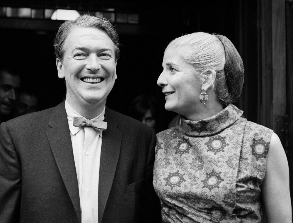 Novelist Elizabeth Jane Howard is shown with writer Kingsley Amis after their marriage in 1965 at Marylebone Register Office in London. She died Thursday at age 90.