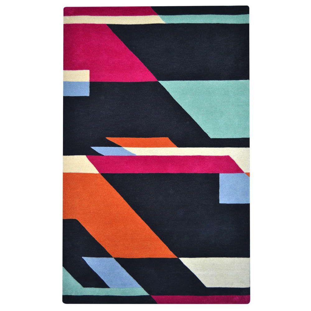 Another way to make space both kid- and design-friendly is to choose a great rug. Bold geometric rugs make a splash in a modern play space without being babyish.