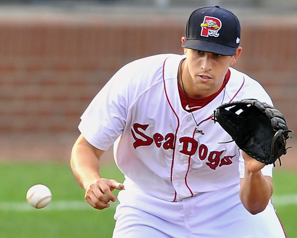 Third baseman Garin Cecchini, who finished the 2013 season with the Sea Dogs, is rated by Baseball America as the sixth-best prospect in the Red Sox organization.