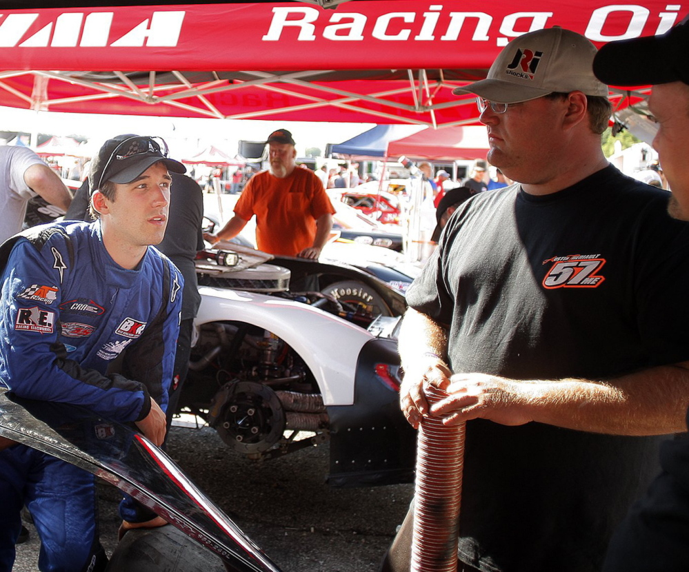 Austin Theriault, left, a Fort Kent native, will be hoping to show potential sponsors this month that he has the drive and talent to eventually make it to the Sprint Cup circuit.