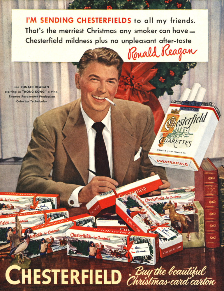 Ronald Reagan appears in a 1949 Chesterfield cigarette advertisement. Smoking dropped 15 percent in the first months after Surgeon General Luther Terry's report in 1964.