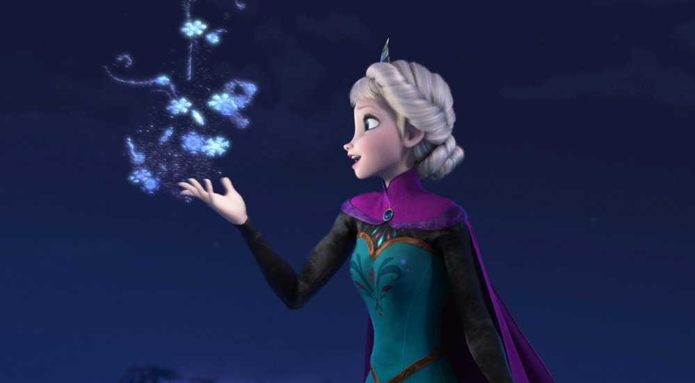 """Elsa the Snow Queen, voiced by Idina Menzel, in a scene from the Disney animated feature """"Frozen."""""""