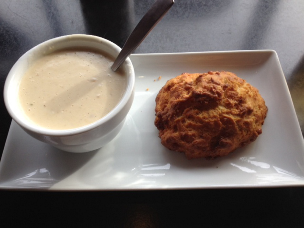 The creamy onion soup and cheddar biscuit at Mainely Wraps in Portland's Old Port is a hearty meal unto itself.