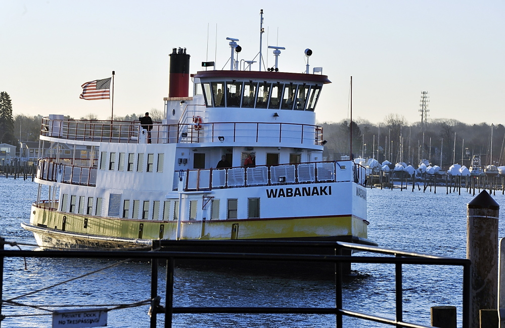 """Casco Bay Lines' new ferry, The Wabanaki, arrives in port after a 16.5-hour trip from Rhode Island where it was built. The Wabanaki is 110 feet long and carries 339 passengers. """"People are going to love it,"""" said Casco Bay Lines senior Captain Gene Willard."""
