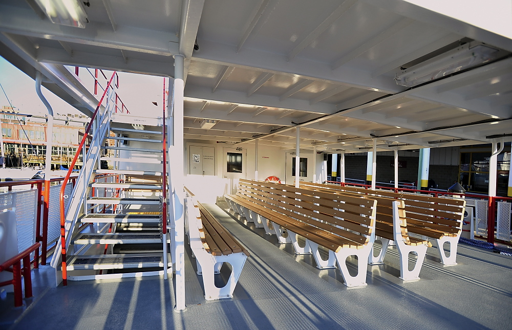The Wabanaki, a new ferry boat for Casco Bay Lines, came into port after a 16.5-hour trip from Blount Boats Inc., in Warren, R.I., where it was built. This is the passenger outside seating area.