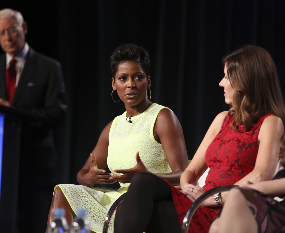 An MSNBC executive says the personal experience of anchor Tamron Hall, center, is rare for shows that track crime details.