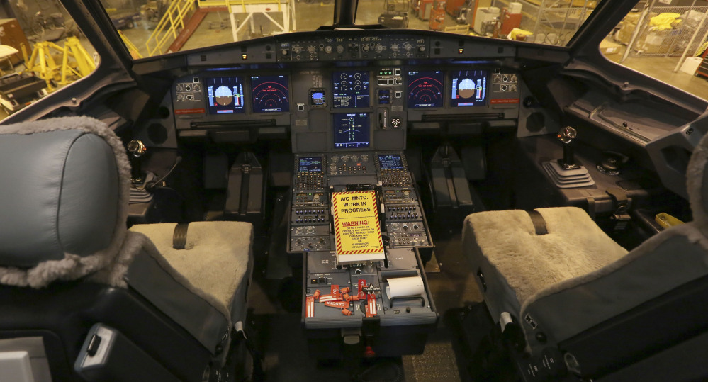A new plane is prepared for use at the American Airlines operations center hangar in Grapevine, Texas.