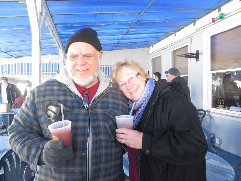 Sipping, not dipping are Paul Thivierge of South Portland and Linda Cole of Old Orchard Beach.