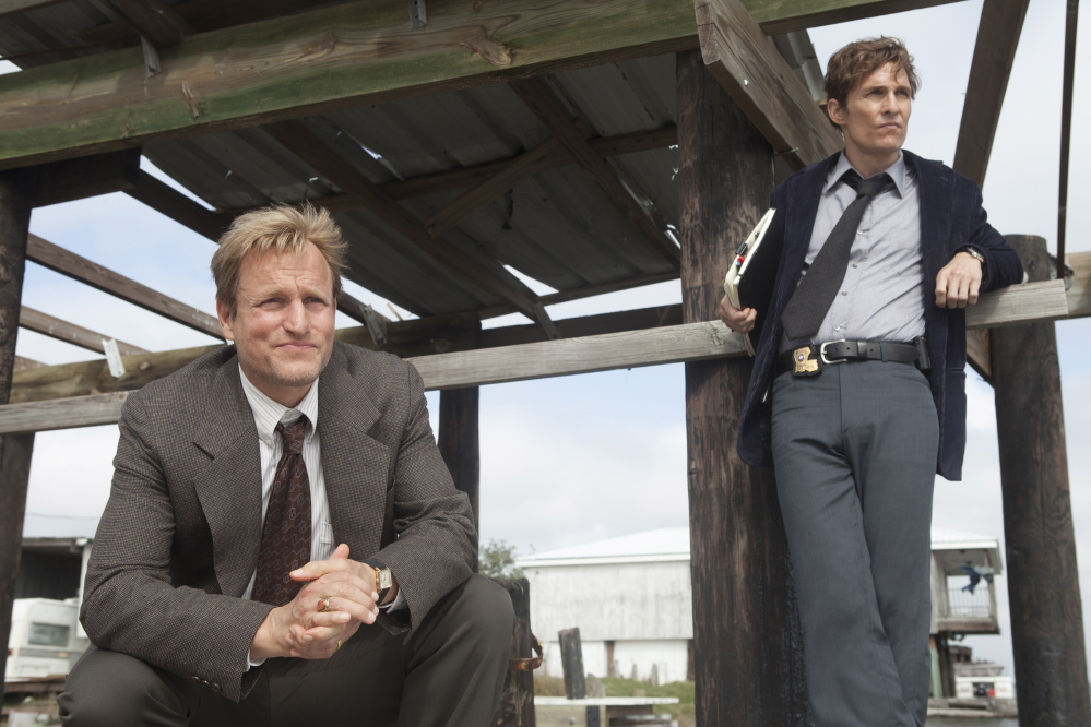 """Woody Harrelson, left, and Matthew McConaughey in a scene from the new HBO series """"True Detective,"""" premiering at 9 p.m. Sunday."""