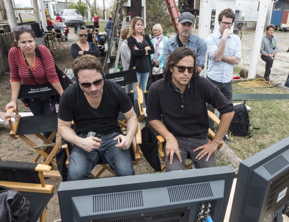 """Writer and executive producer Nic Pizzolatto, left, and director Cary Fukunaga on the set of """"True Detective."""""""